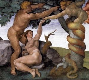 O pecado de Adão e Eva, de Michelângelo